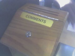 Comments Box @ the Hazelwood, MO Denny's