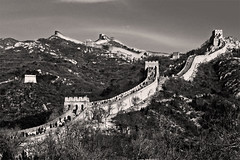 The Great Wall (musicmuse_ca) Tags: china blackandwhite bw 15fav topv111 stone sepia 1025fav 510fav wow interestingness cool nice fantastic asia poetry 500v20f great beijing 100v10fav unesco 2550fav 50100fav fengshui greatwall badaling  thegreatwall archetype  interestingn