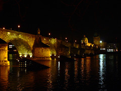 Charles Bridge, Prague (Night-time 2) (Lazy B) Tags: bridge water tag3 taggedout night reflections wonder lights tag2 tag1 prague topv222 fz5 charlesbridge iwantse7en 20topfaves2005