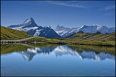Alpine Panorama, First,  The Bachsee. Canton of Bern. Switzerland. No. 9078. (Izakigur) Tags: alps alpes alpen berner oberland bern berne berna kanton canton reflection lac bachalpsee grindelwald bf fix you coldplay trift mountain wetterhorn landscape outdoor