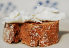 goat's milk cheese on gaume bread