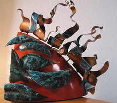 Wood And Copper Patina Art Sculpture (audreyjm529) Tags: wood blue sculpture orange metal working copper patina metalworking elegance jalalspagesartandcraftalbum
