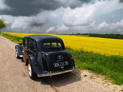 Citroen Traction in Ile-de-France countryside (pierre m) Tags: road old black france color field car yellow countryside classiccar automobile oldtimer blueribbonwinner outstandingshots diamondclassphotographer flickrdiamond naturewatcher thebestyellow vangoghwouldbepleased vangoghbackground