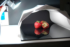 strawberry setup DSC_0157 (Photoshoparama - Dan) Tags: red black strawberry sb800 coroplast redonblack minimacrostudio johnsongraphics photoshoparama danielejohnson crossroadonecom