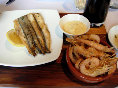 prawns and garfish