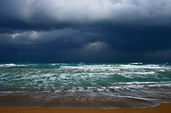 Storm Coming (esther**) Tags: ocean blue sea sky storm beach clouds dark landscape sand bravo mediterranean waves searchthebest wind interestingness1 topf300 greece topf100 rhodes topf250 topf200 interestingness9 interestingness5 interestingness3 interestingness4 specland