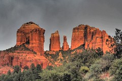 Sunset on Cathedral Rock-May 5, 2007 (JoelDeluxe) Tags: sunset red arizona rock cathedral sedona az joeldeluxe hdr oakcreek