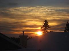 Cloud patterns at sunrise (peggyhr) Tags: blue chimney orange sun tree yellow clouds sunrise gold edmonton rooflines diamondclassphotographer flickrdiamond