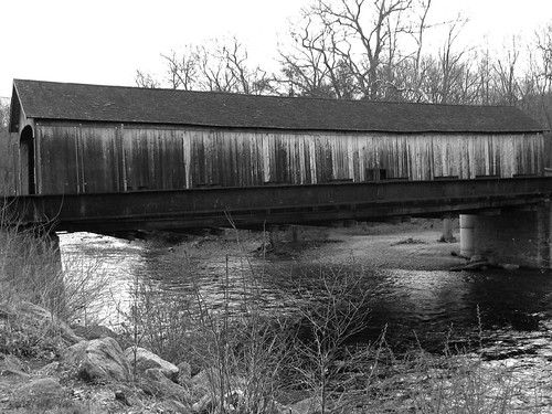 The Comstock Bridge over the Salmon River B&W