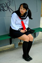 Waiting 4 bus 3 (Teafor2) Tags: school yummy uniform cosplay outdoor busstop alterego schoolgirl schooluniform pipmay
