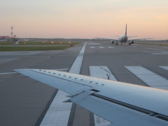 Airplanes on runway at CLE