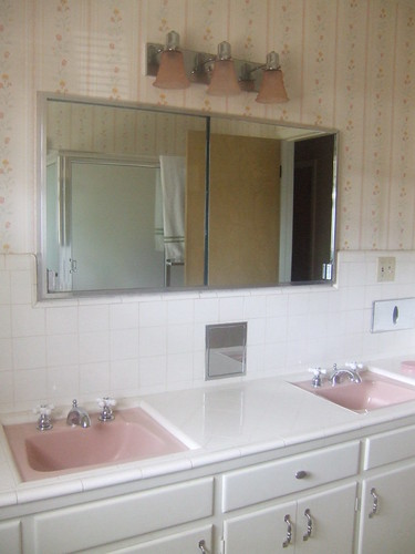 Two pink sinks