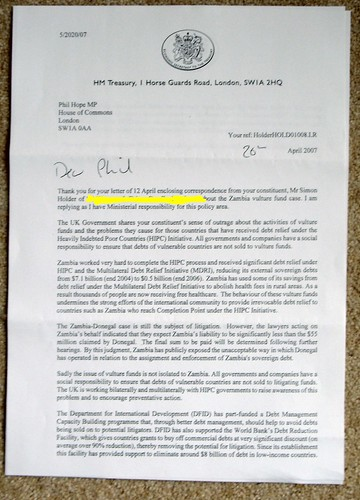 The letter from HM Treasury regarding Vulture Funds.