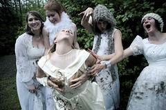 Divorce Party Camping Weekend (Kris Krug) Tags: camping trees wedding white forest women posing weddingdress weddingdresses weddingphotography divorceparty womeninwhite