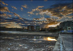 Newcastle Sunset (Earlette) Tags: autumn sunset sky sun holiday reflection water clouds photoshop buildings newcastle nikon rocks australia explore baths nsw soe hdr blueribbonwinner d80 earlette