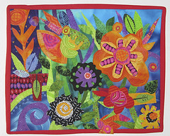 Garden Surprise (Ronnie Lewison) Tags: abstract floral colorful sewing artquilt rawedge