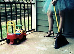 Day 234 ~ The Tutu Makes Things More Fun (ambrosialove) Tags: me cleaning housework broom tutu backporch sweeping bsb urbanacid 365days houseworkinatutu