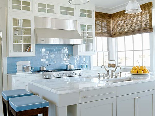 kitchen cabinets ideas » kitchen with blue walls and white
