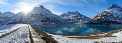 Silvretta Ice lake (gregor H) Tags: gaschurn vorarlberg sterreich at montafon mountain silvretta panorama ice lake winter sun between vacation skiing splendid bright wall reservoirlake high shadow