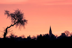 Colombier Saugnieu (◄Laurent Moulin photographie►) Tags: paysage landscape colombier saugnieu eglise photo silhouette arbre tree sunset couche de soleil couché rose