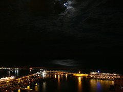 P1100489 (marimbajlamesa) Tags: barcelona bridge moon port puerto puente luna gotico santamariadelmar blueribbonwinner