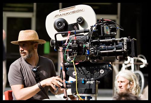 Film crew, on the giraffe