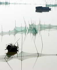 Shishou fishing boats (Sean Maynard) Tags: china water river bay fishing calm hubei changjiang oxbow shishou lpbays