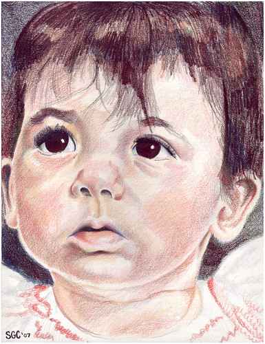 Colored pencil drawing entitled Clara at 10 Months