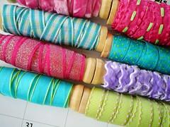 they were on Sale!!! (Tara Anderson) Tags: blue green spools ribbon michaels purplr