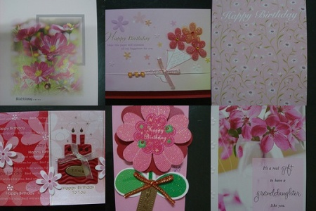 Birthday Cards . . . pink flowers galore