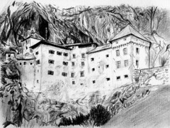 Predjama Castle, Slovenia (Lucia Whittaker) Tags: old light cliff building castle art home beauty grass rock wall fairytale forest pencil dark photo woods europe drawing unique towers lawn medieval tournament slovenia shade knight cave aged rogue drawn grad karst legend grounds turrets brigand postojna fissures predjama predjamski