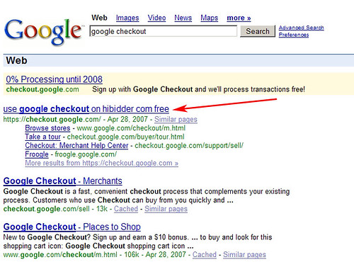 "Google Checkout Results Apparently ""Hijacked"""
