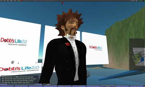 Philip Rosedale's avatar delivers a keynote at the Life 2.0 conference