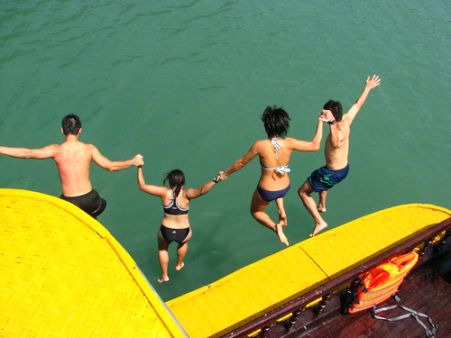 jumping off the junk in ha long bay