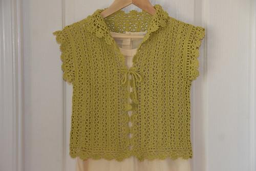 Green Crochet Bolero Front