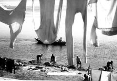 panni stesi..... (Monia Sbreni) Tags: street bw india water monochrome river asia strada indian fiume laundry indie varanasi acqua washing bianconero ganga reportage questfortherest benares lavaggio pannistesi lavanderia gange uttarpradesh sfidephotoamatori moniasbreni