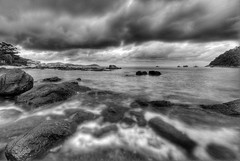 The Storm is Coming (Shaolin Tiger) Tags: sea blackandwhite bw seascape beach water clouds wideangle malaysia d200 1020mm perhentian hdr sigma1020mm 10mm dramaticskies photomatix