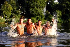 Four Albanian guys... (AFIK  BERLIN) Tags: berlin beach guys bathing ragazzi albanians