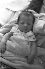 Newborn (Esabeau) Tags: old portrait bw baby film nephew newborn scratched developed