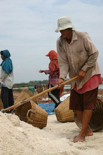 Salt workers north of Hua Hin, Thailand...