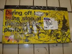 HPIM2531 (Reid Harris Cooper) Tags: nyc newyorkcity newyork train underground subway sticker stickerart 14thstreet selfer