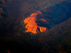 Uluru at sunset. Northern Territory, Australia (at 36,000 feet) (Leone Fabre) Tags: sunset sky rock clouds plane inflight singapore flight australia melbourne airline outback uluru qantas ayres flightpath redcentre 36000feet supershot unature auselite unaturefav qf09 flighttosingapore melbournetosingapore