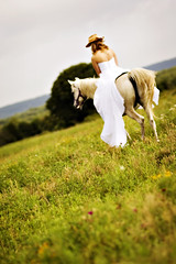 Runaway bride (emilycm) Tags: portrait horse bride country 85mm land weddingdress nikkor f18 cowboyhat abigfave trashthedress