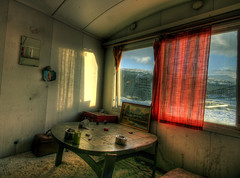 Room with a view (balsamia) Tags: abandoned painting mirror workers curtains barracks 1022mm 2h brakke moelven