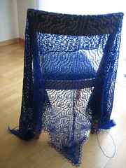 Peacock Feathers Shawl, blocked