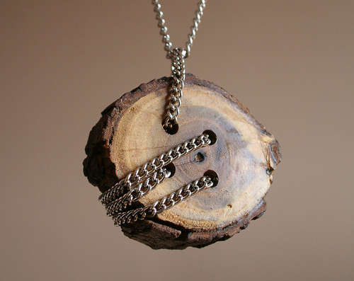 Wooden Button Necklace, not by me