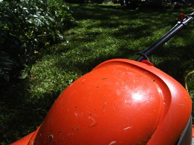 Our bright orange lawnmower