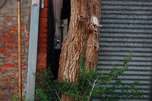 brick wood metal
