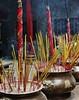 Incense (JanneM) Tags: blue red yellow temple jan buddhist smoke vietnam chi ritual ho minh saigon incense morén moren janmoren janmorén