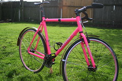 None More Pink (DJcrb9) Tags: wood pink bike bicycle pinky fender sing commute singlespeed fixed fixie mustache kona townie majorjake